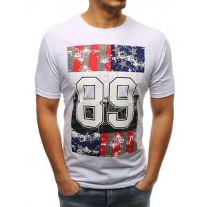 Pánske tričko v bielej farbe s okrúhlym výstrihom
