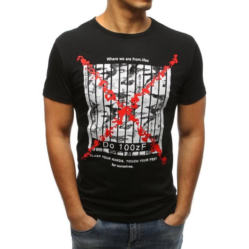 0336bbcf4a45 Čierne pánske tričko s bielymi pruhmi červeným krížom