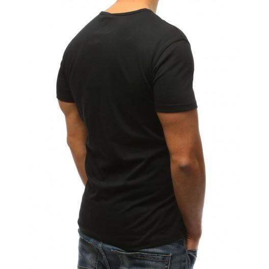 Čierne pánske tričko s bielymi pruhmi červeným krížom