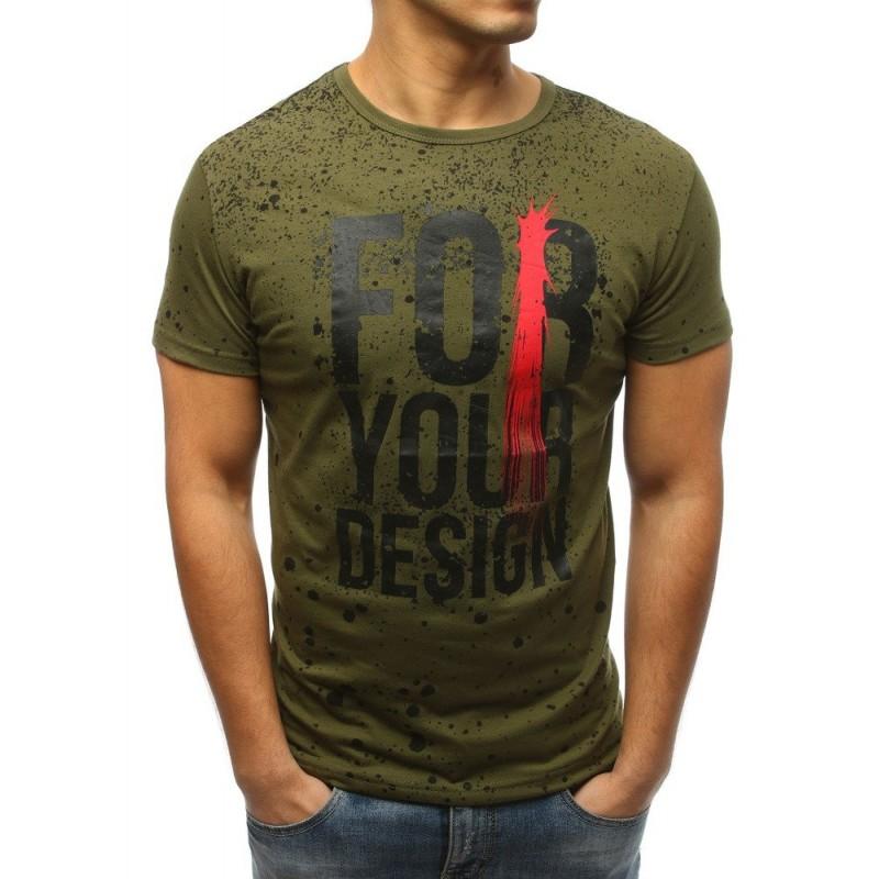 6758d956259c Pánske tričko tmavo zelenej farby s dizajnovým nápisom a potlačou