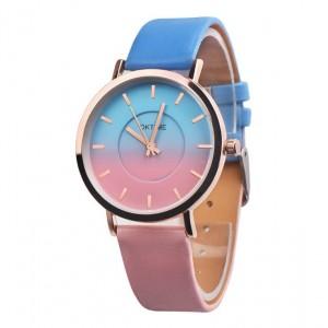 Dámske ombre náramkové hodinky ružovo modrej farby