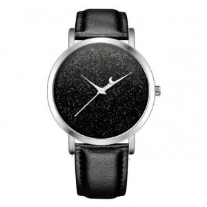 Čierne elegantné dámské hodinky s vesmírnym motívom