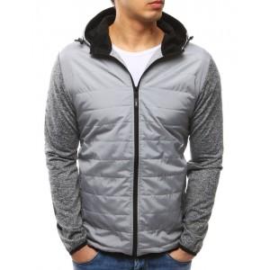 Sivá pánska prešívaná bunda s kapucňou na jar