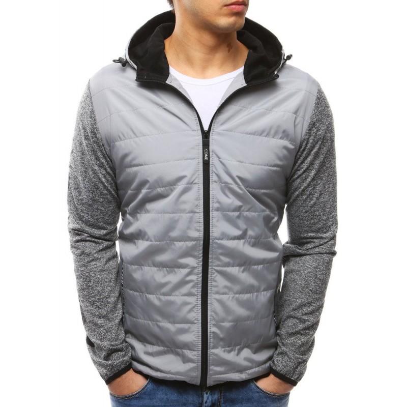 Sivá pánska prešívaná bunda s kapucňou na jar 931ab94a26