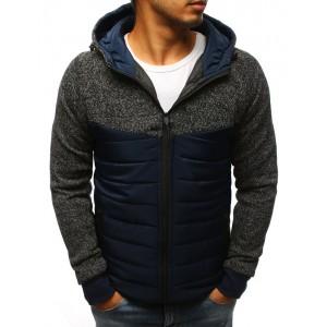 Tmavo modrá pánska jarná bunda s kapucňou
