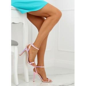 Dámske sandále na vysokom opätku ružovej farby