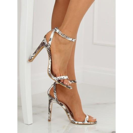 Hnedé vysoké dámske sandále s textúrou hadej kože