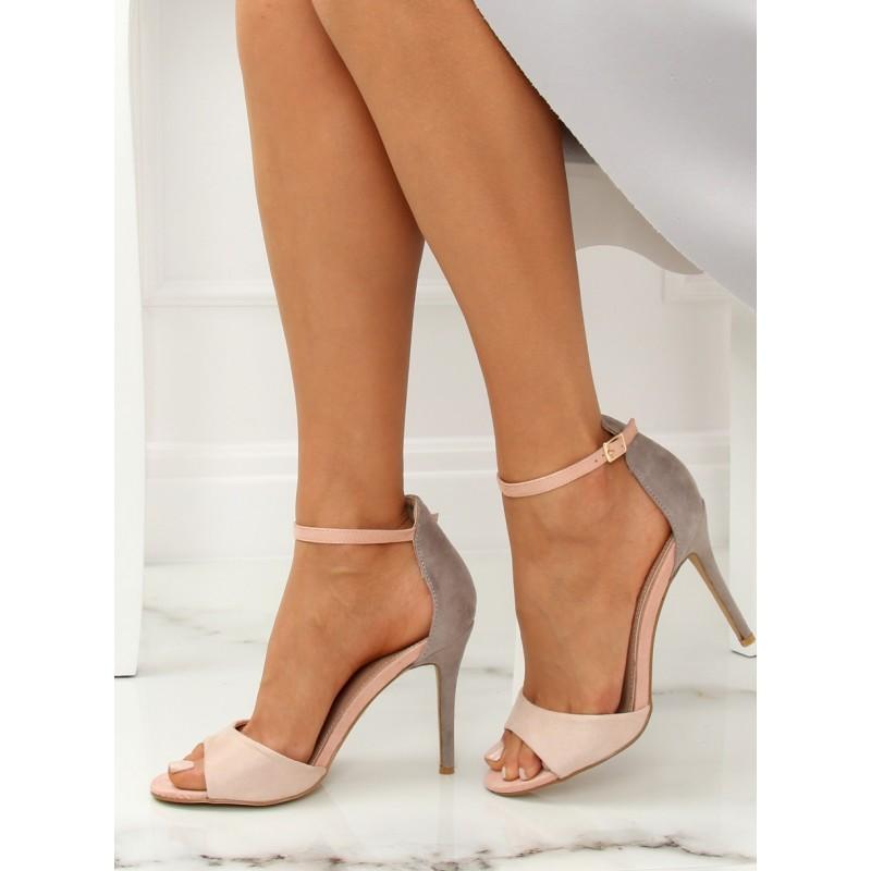 d730da91b8e7 Sivé dámske elegantné sandále na vysokom opätku