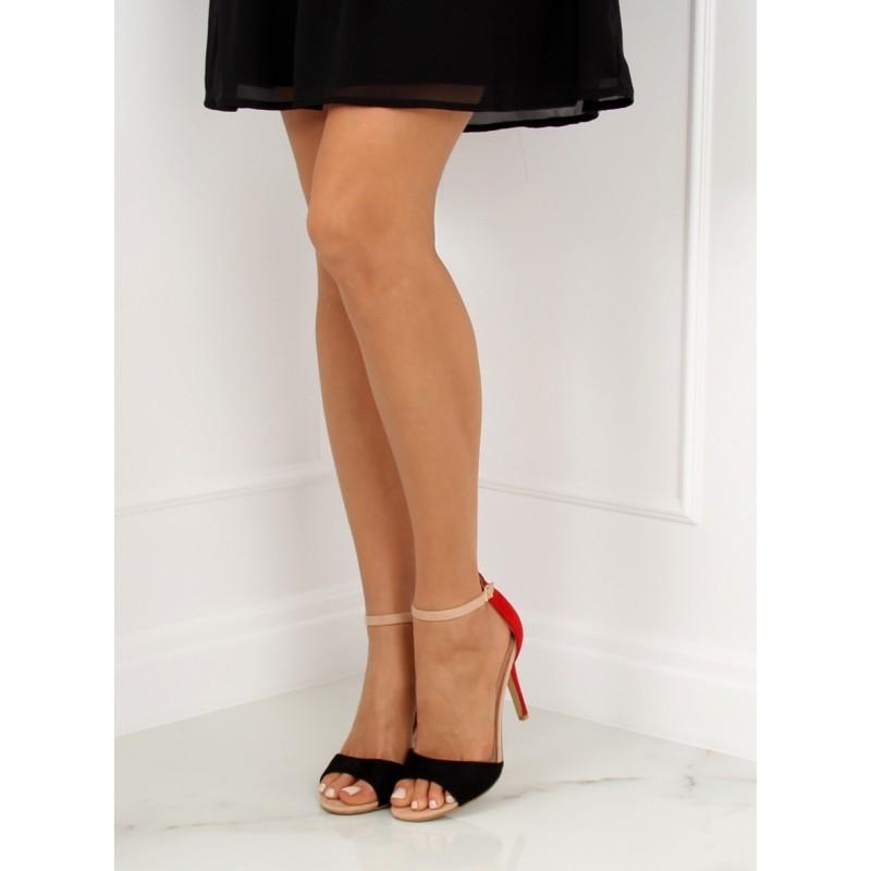 d0fe6366e7ef Červeno čierne dámske sandále na ihličkovom podpätku