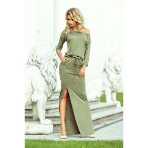Zelené dlhé maxi šaty s 3/4 rukávom a sťahovacím pásom