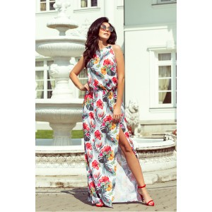 Dlhé dámské šaty s rozporkom vpredu a kvetinovým motívom