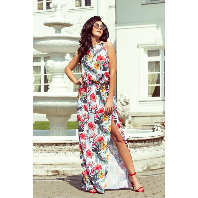 Dlhé dámské šaty s rozporkom vpredu a kvetinovým motívom 3c8b8bc9e3