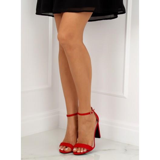 Letné dámske remienkové sandále červenej farby