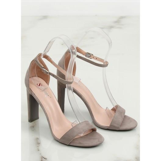 Elegantné vysoké dámske sandále sivej farby
