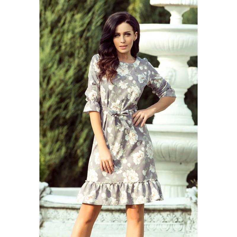 f28422e17001 Elegantné sivé dámske šaty s volánmi a kvetinovým vzorom
