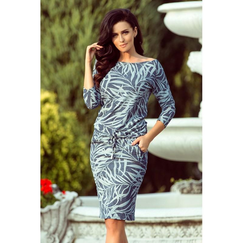 Športovo elegantné dámske šaty s listovým motívom 46ca0698374