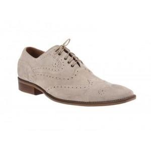 Športovo elegantné pánske topánky z brúsenej kože slonovinovej farby ComodoEsano s hnedou podrážkou