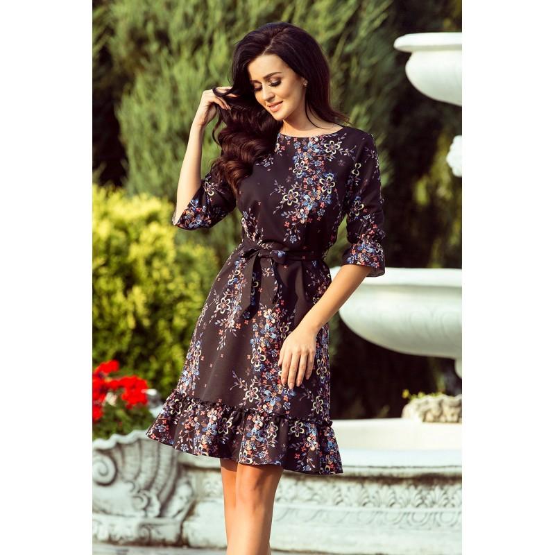 Romantické dámske čierne šaty s volánmi a kvetmi 25bbb605161