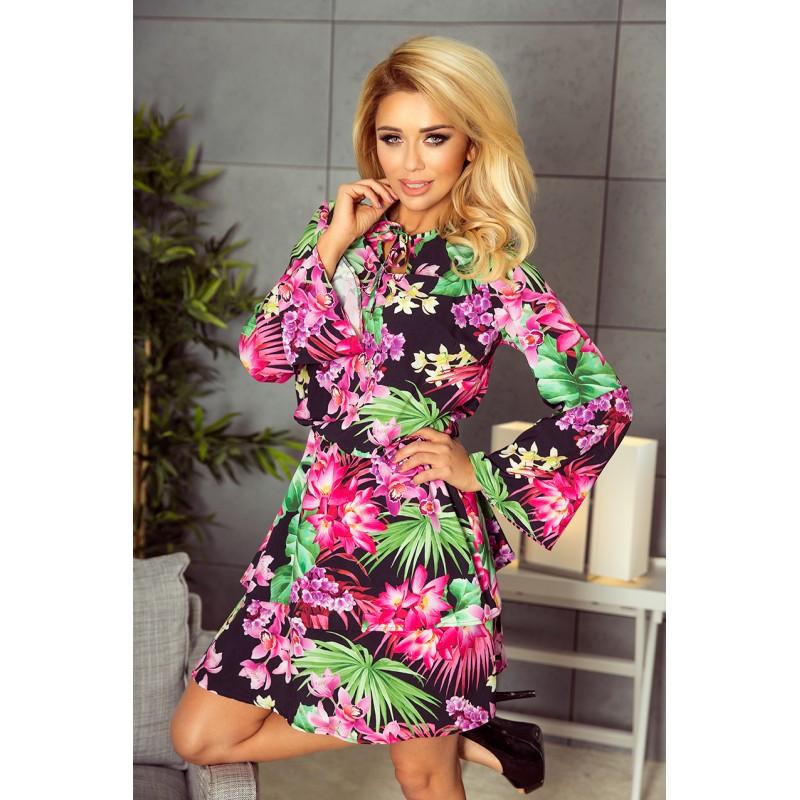 104dd68682a5 Dámske farebné šaty s kvetinovým vzorom