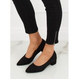 Elegantné semišové dámske lodičky čiernej farby