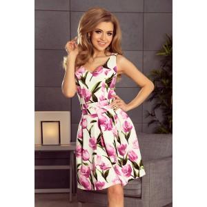 Elegantné dámske šaty s motívom tulipánov