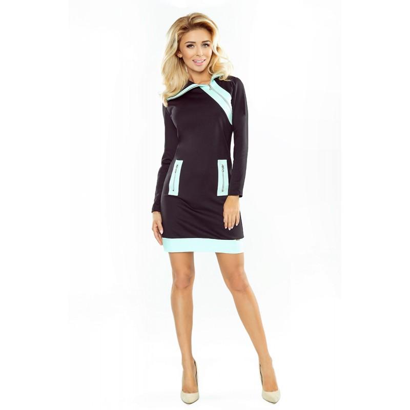 55fe516a01c4 Krátke čierne športové šaty s mentolovými detailami
