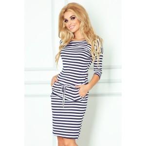 998f47f87e44 Pruhované dámske šaty bielo modrej farby s voľným ramenom