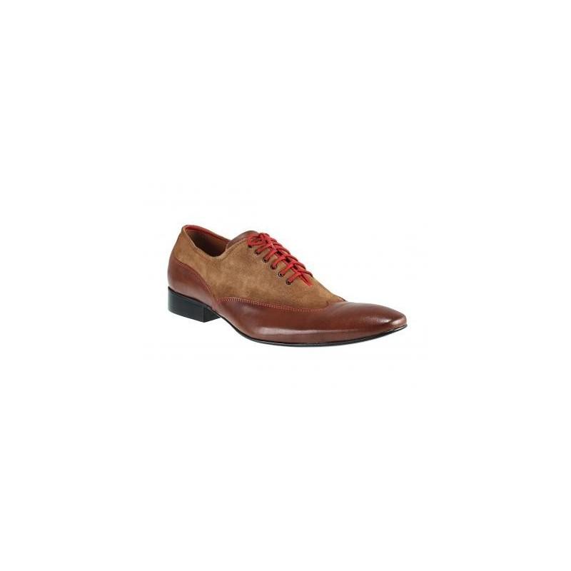 Manažérska obuv hnedej farby v kombinácií s brúsenou kožou bfe2f564d08