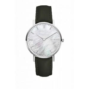 Dámske hodinky s remienkom v khaki farbe a bielym ciferníkom