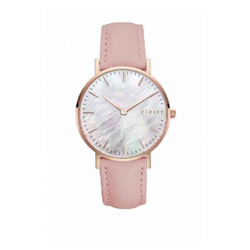 2c773a444 Módne dámske hodinky s bielym ciferníkom a ružovým remienkom