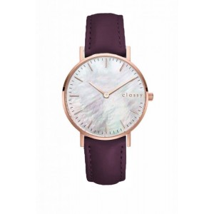 Štýlové dámske hodinky s ružovým kovom a módnym fialovým remienkom