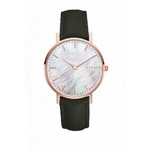 Originálne dámske hodinky so zeleným remienkom a zlato ružovým kovom