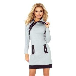b6072018d325 Sivé dámske mini šaty športové s vreckami a rolákovým golierom na zips