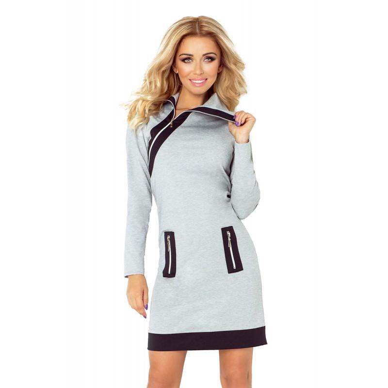 9bb7ac511cca Sivé dámske mini šaty športové s vreckami a rolákovým golierom na zips