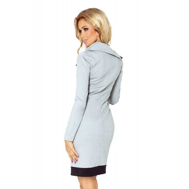 4d8606733154 Sivé dámske mini šaty športové s vreckami a rolákovým golierom na zips