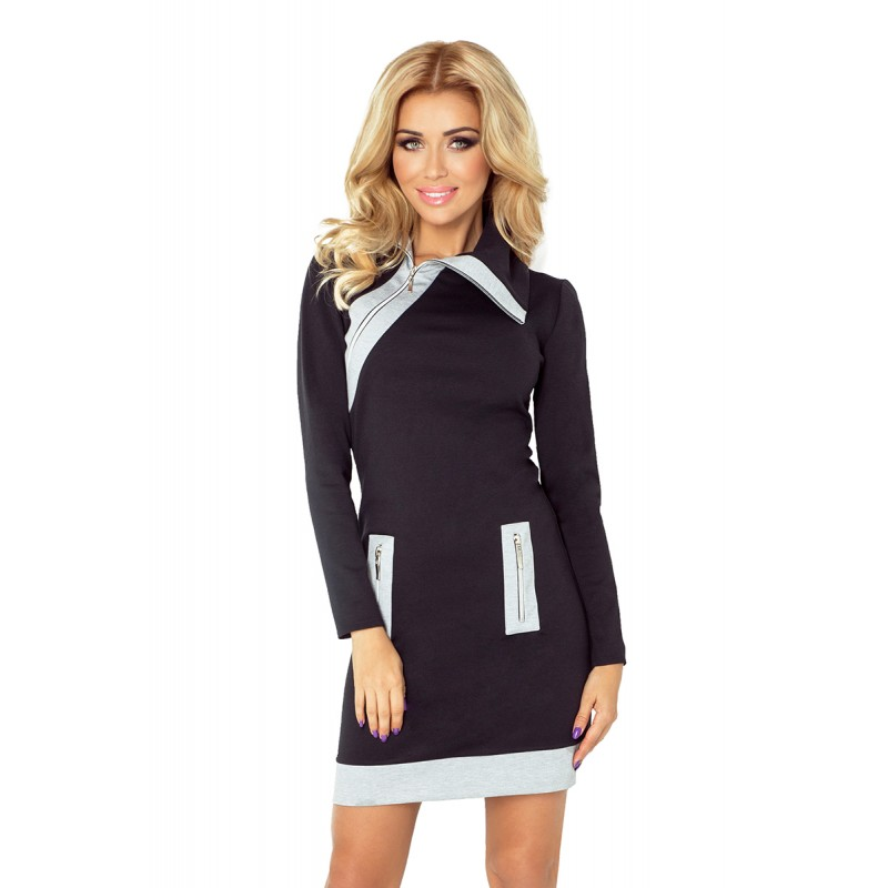 fa7d9aabb012 Čierno sivé športové mini šaty s dlhým rukávom