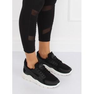 Čierne dámske tenisky s módnou bielou podrážkou