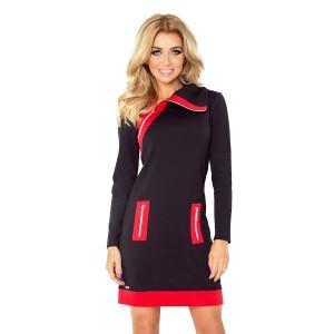 2b973417e25d Krátke športové dámske šaty v čierno červenej farbe s bočnými vreckami