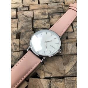 Dámske strieborné hodinky na ruku s dizajnom ružového remienku