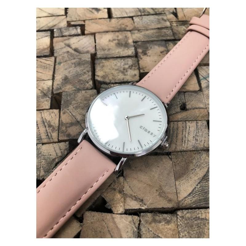914195d117 Dámske strieborné hodinky na ruku s dizajnom ružového remienku