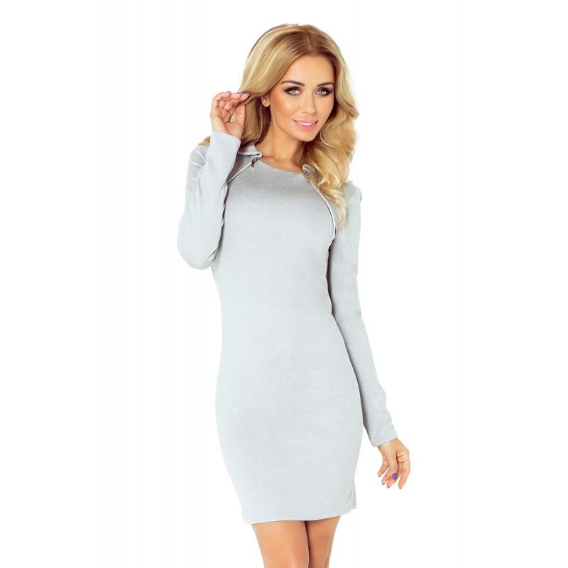 42362e4c7a2a Úzke dámske mini šaty sivej farby s dlhým rukávom