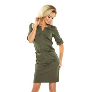 Khaki dámske krátke šaty na denné nosenie