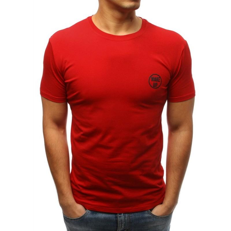 3681246cd0dcc Pánske jednofarebné tričko v červenej farbe