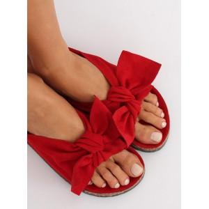 Luxusné dámske šľapky červenej farby na korkovej podrážke
