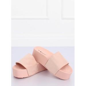 Ružové dámske šľapky na vysokej podrážke
