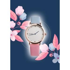 Originálne dámske hodinky s dvojfarebným modro ružovým remienkom