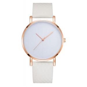 Biele dámske náramkové hodinky so zlatým ciferníkom