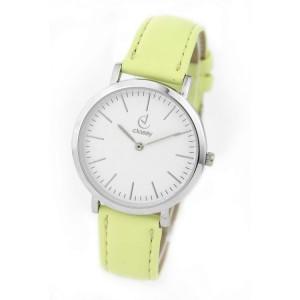 Náramkové dámske hodinky so žltým remienkom a strieborným ciferníkom