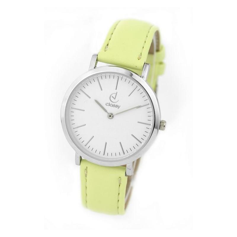 Náramkové dámske hodinky so žltým remienkom a strieborným ciferníkom 8316d5f952