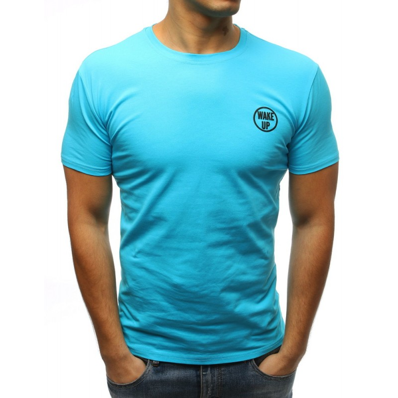 e174cfb3871f Moderné pánske tričko bez potlače s krátkym rukávom v modrej farbe